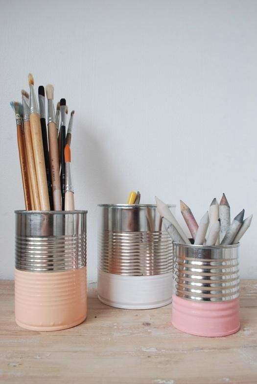 Paint The Bottoms Of Cans & Use For Organization