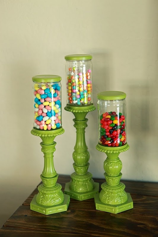 Stylish Treat Containers From Upcycled Jars & Candle Sticks