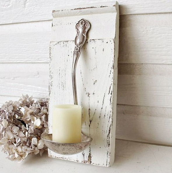 Old Spoon + Old Piece of Wood = Adorable Candle Holder