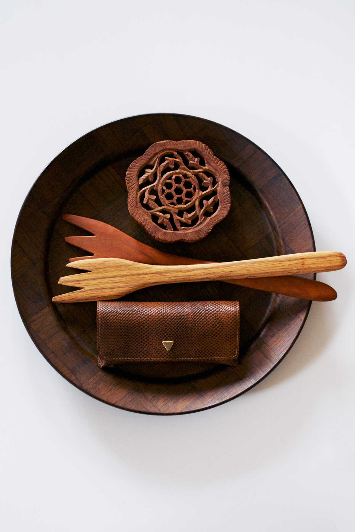 Pictured: Wooden Platter, Handmade Amish Utensils, Wooden Trivet, Brown Eyeglass Case