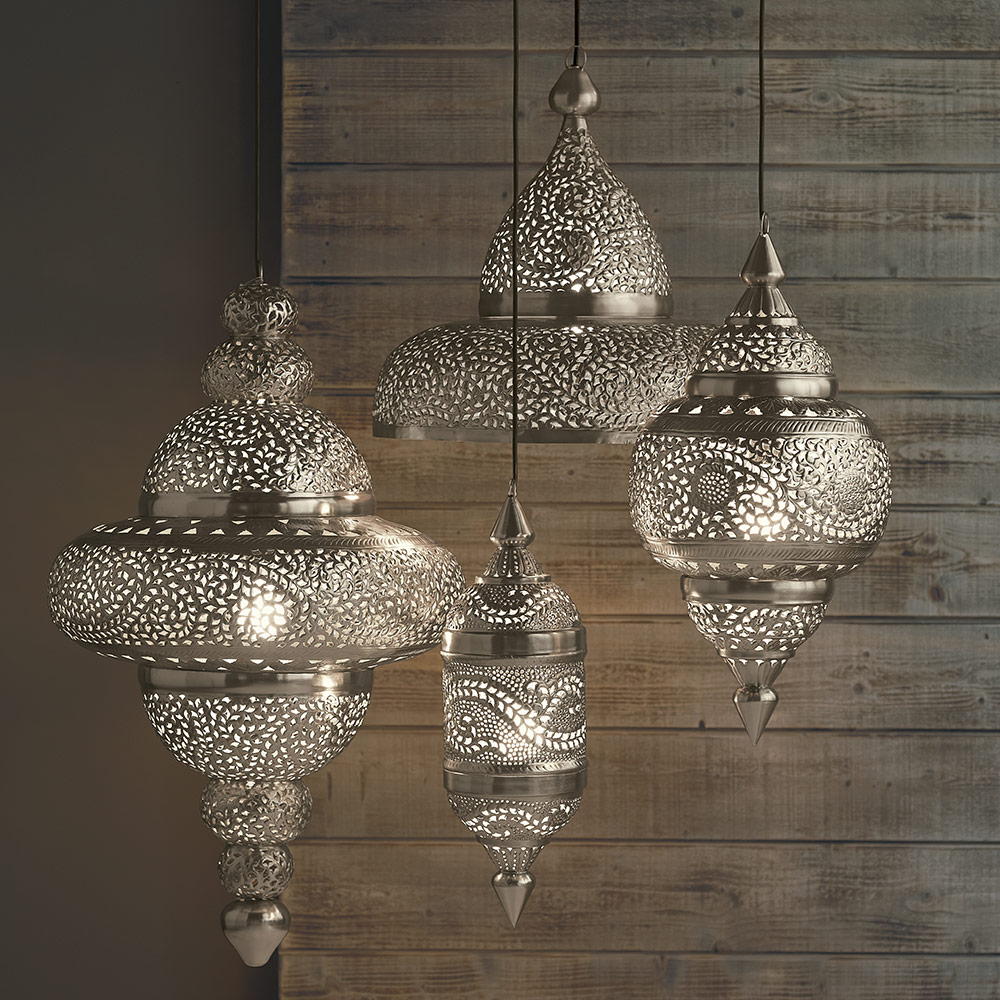 Small Hanging Lamp - Silver Finish