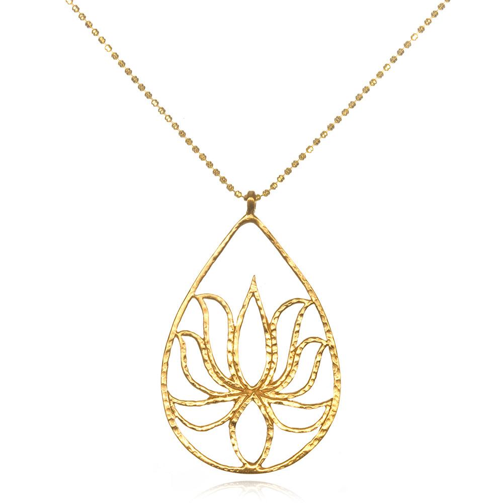 Vivaterra Satya Jewelry Teardrop Lotus Necklace