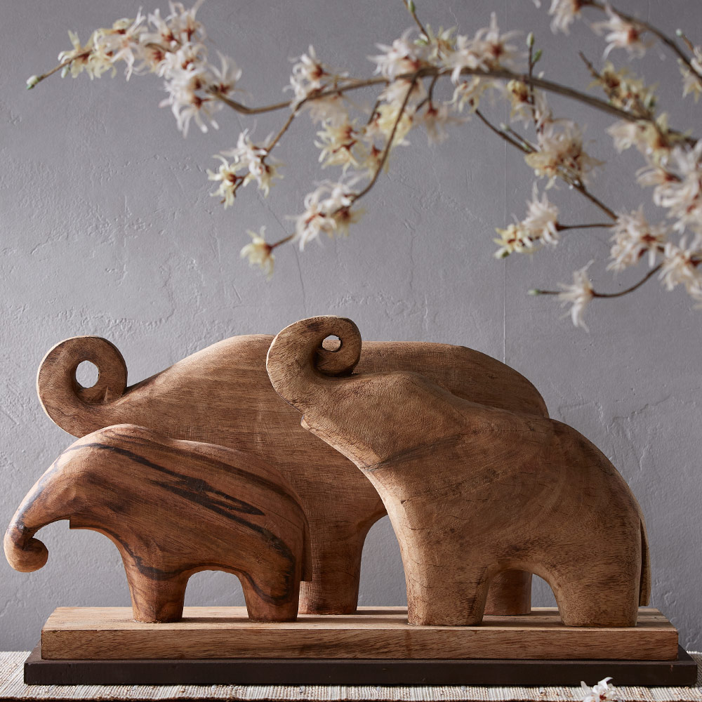 Handcarved Wooden Elephant Family