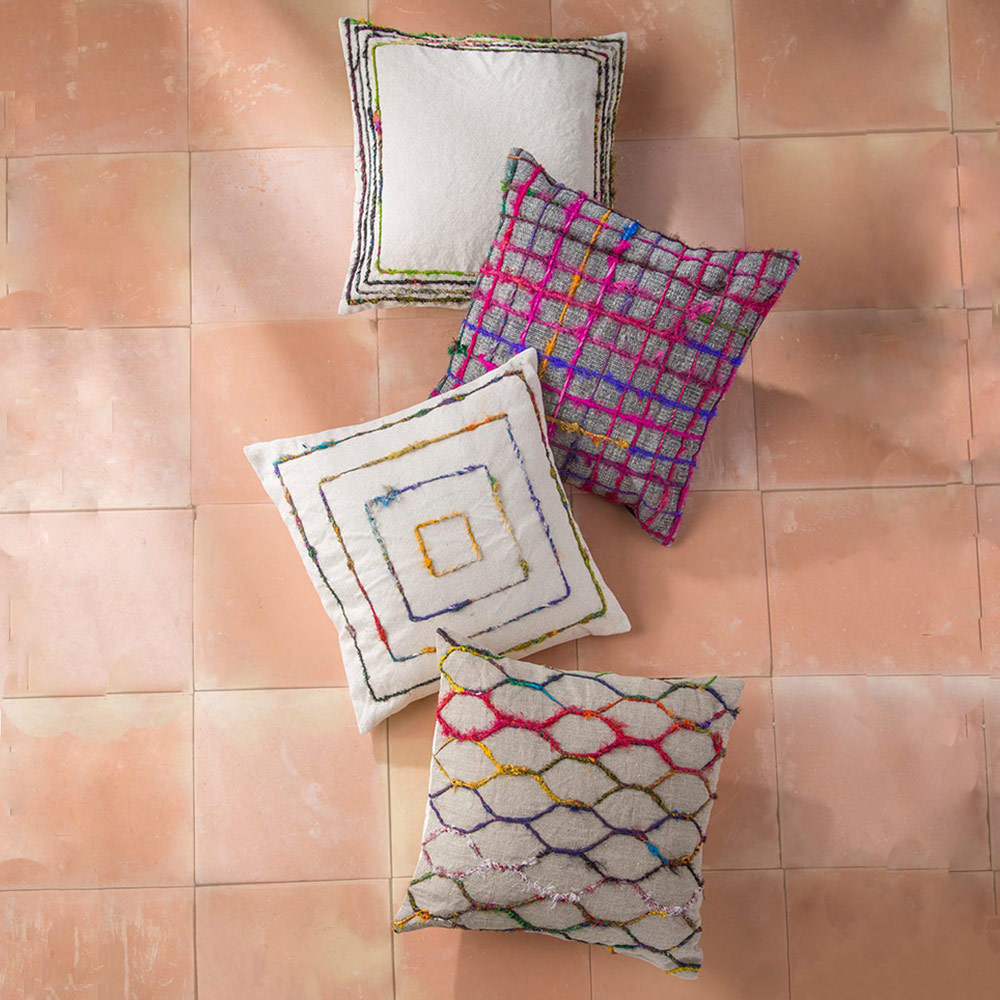 Cotton Blend Shimmering Pillow