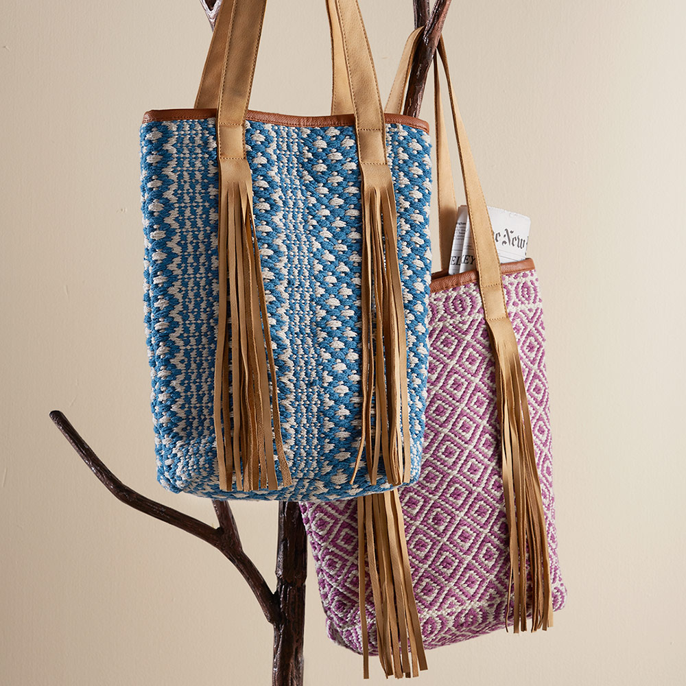 Handwoven Leather Fringe Patterned Tote