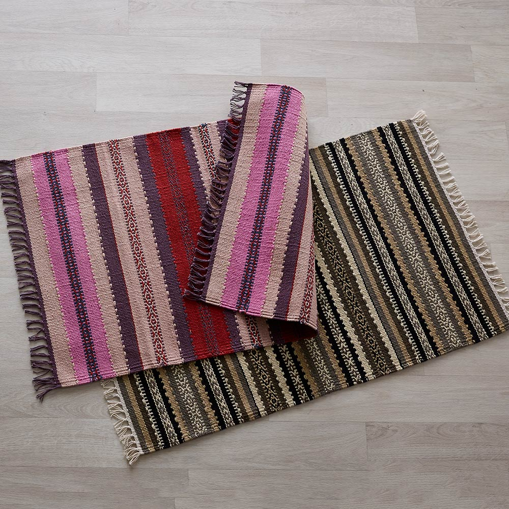Handwoven Cotton Striped Small Rug
