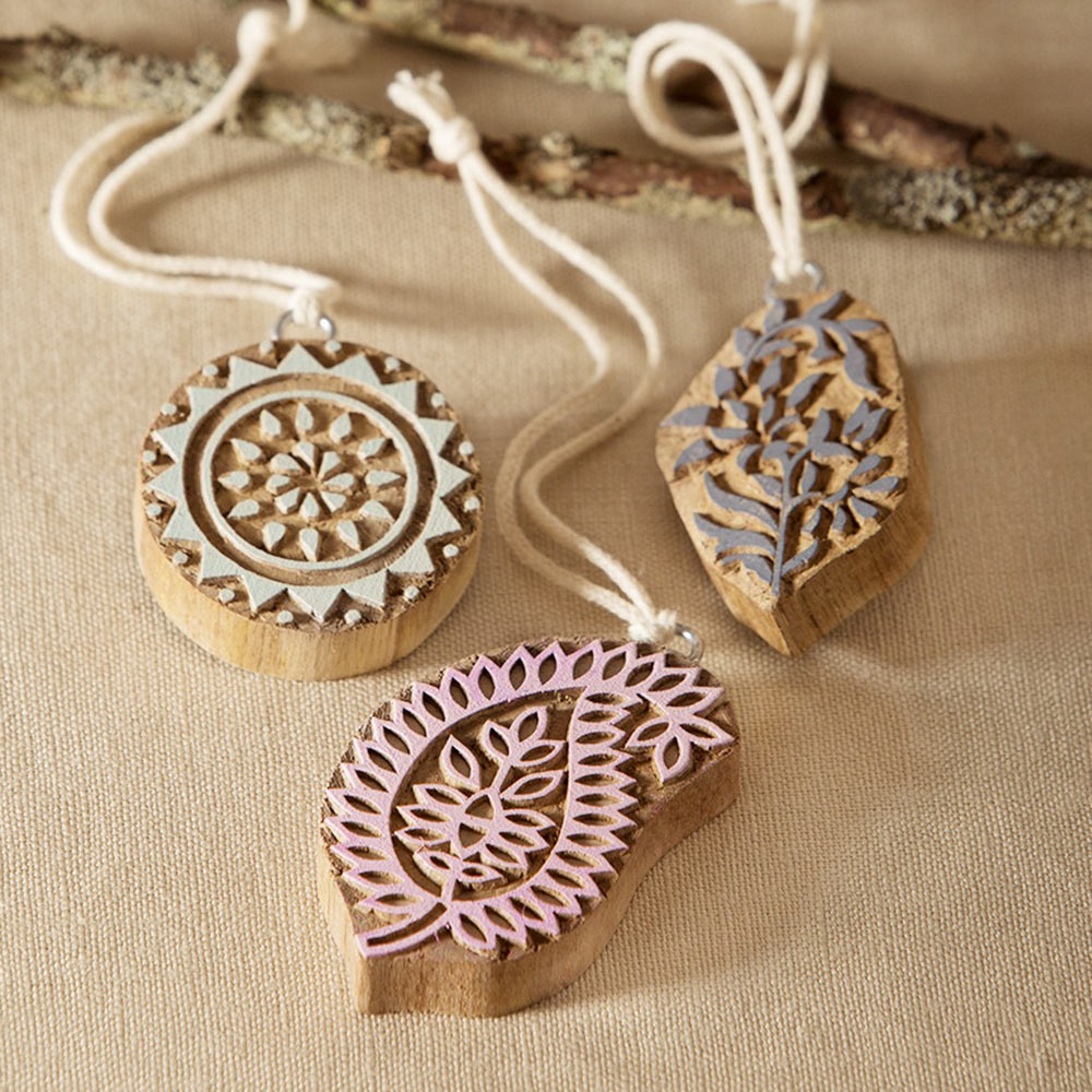 Reclaimed Wood Block Printing Ornaments