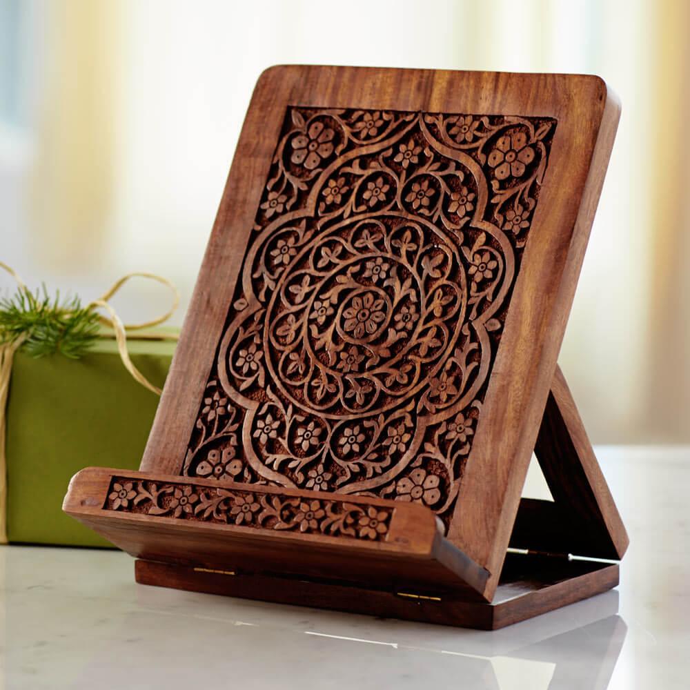 Handcarved Wooden iPad & Cookbook Stand