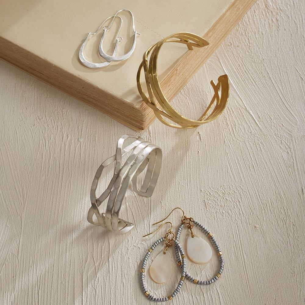Artisan-Made Winding Brass Cuff in Gold Finish