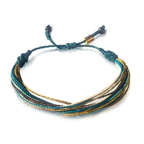 Festival Jewelry Turquoise and Metallic Gold Multistrand String Bracelet