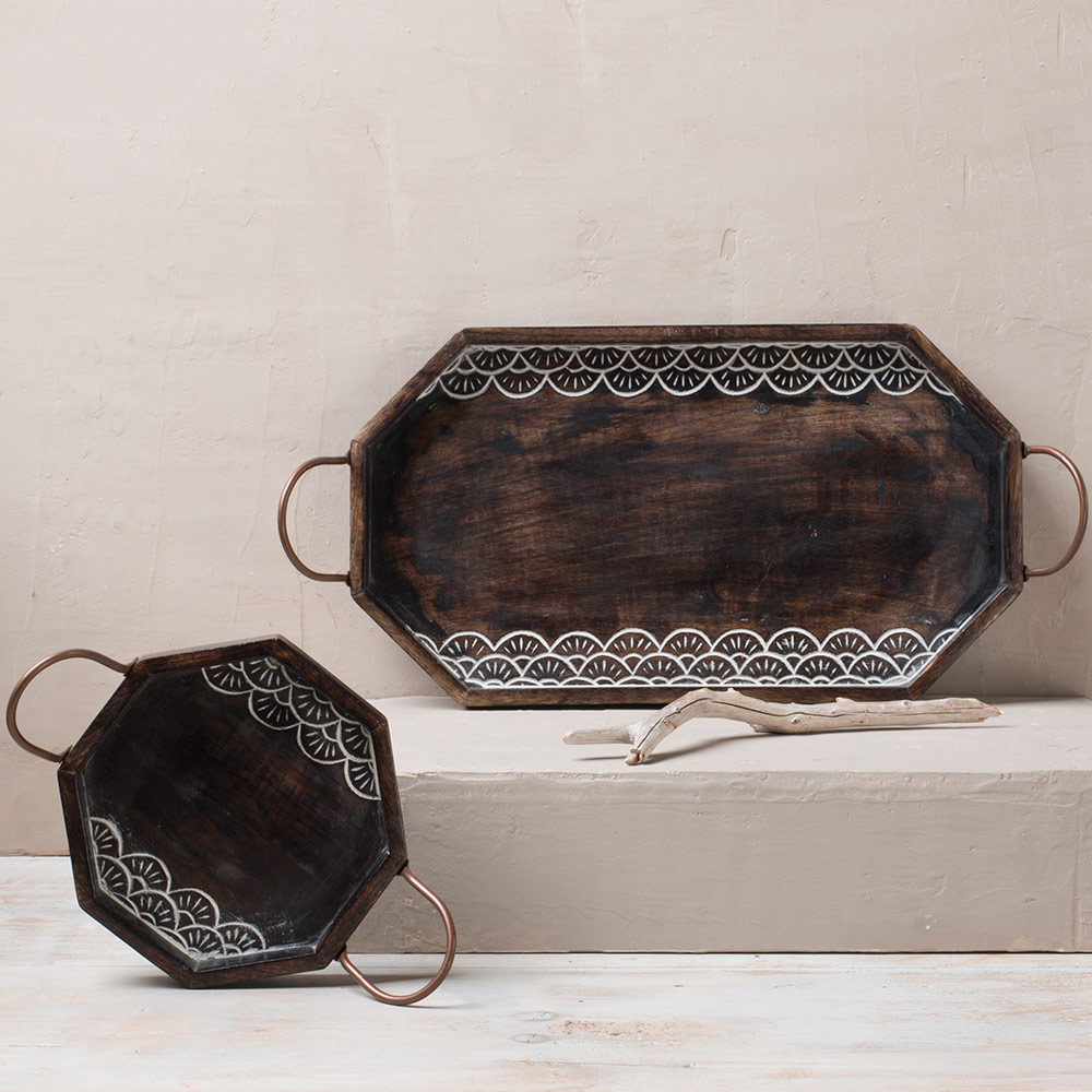 Handcarved Rosewood Hexagon Serving Tray
