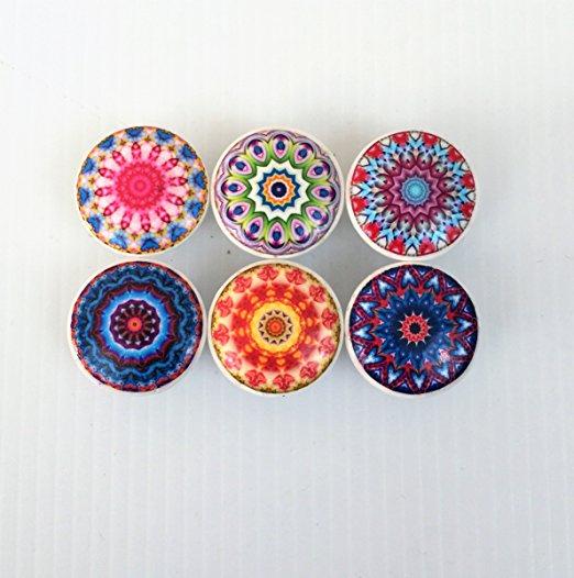 Set of 6 Colorful Mandala Print Cabinet Knobs