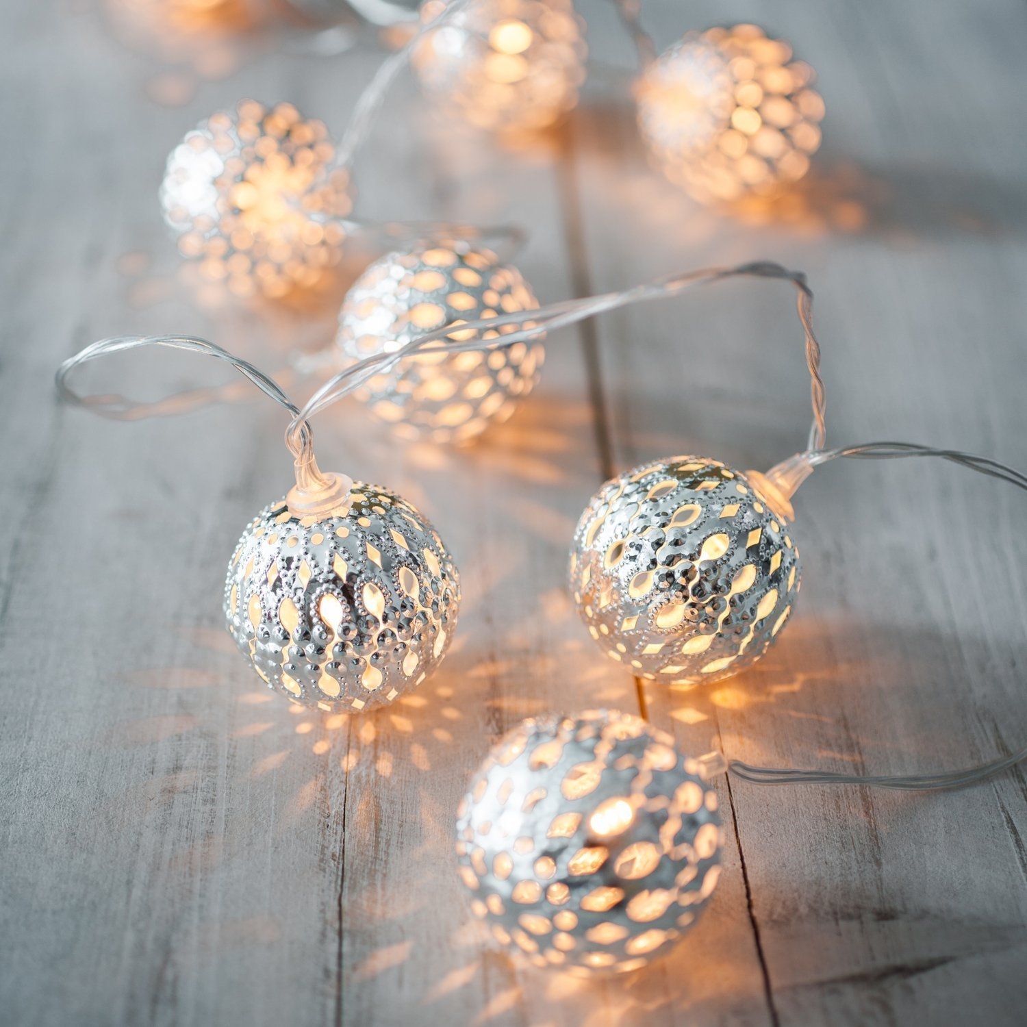 Battery Operated Silver Moroccan Orb LED Fairy Lights