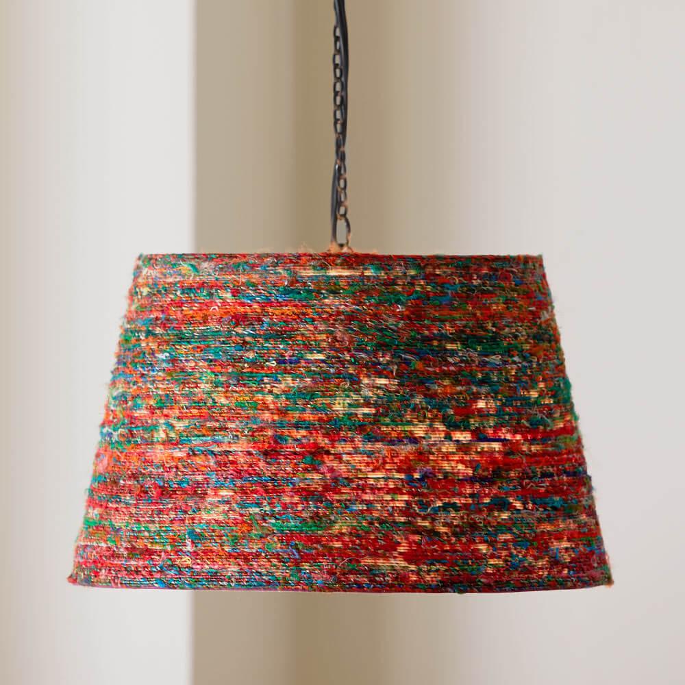 Reclaimed Sari Silk Hanging Pendant Lamp