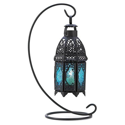 Decor Night Hanging Table Lantern Candle Holder, Sapphire