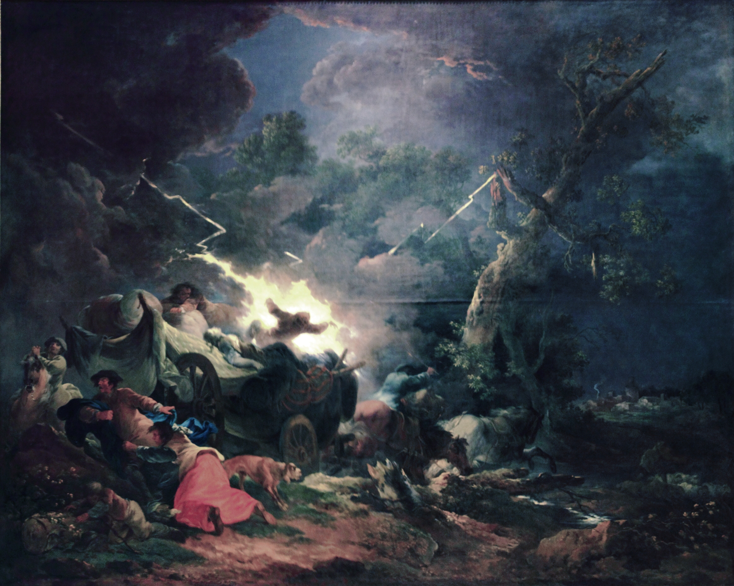 Paysans surpris par un orage  ( Peasants surprised by a storm ) (1770s) by Francesco Casanova. This may be the only extant painting of a person getting struck by lightning. He likely was not being punished for requesting more spaghetti.