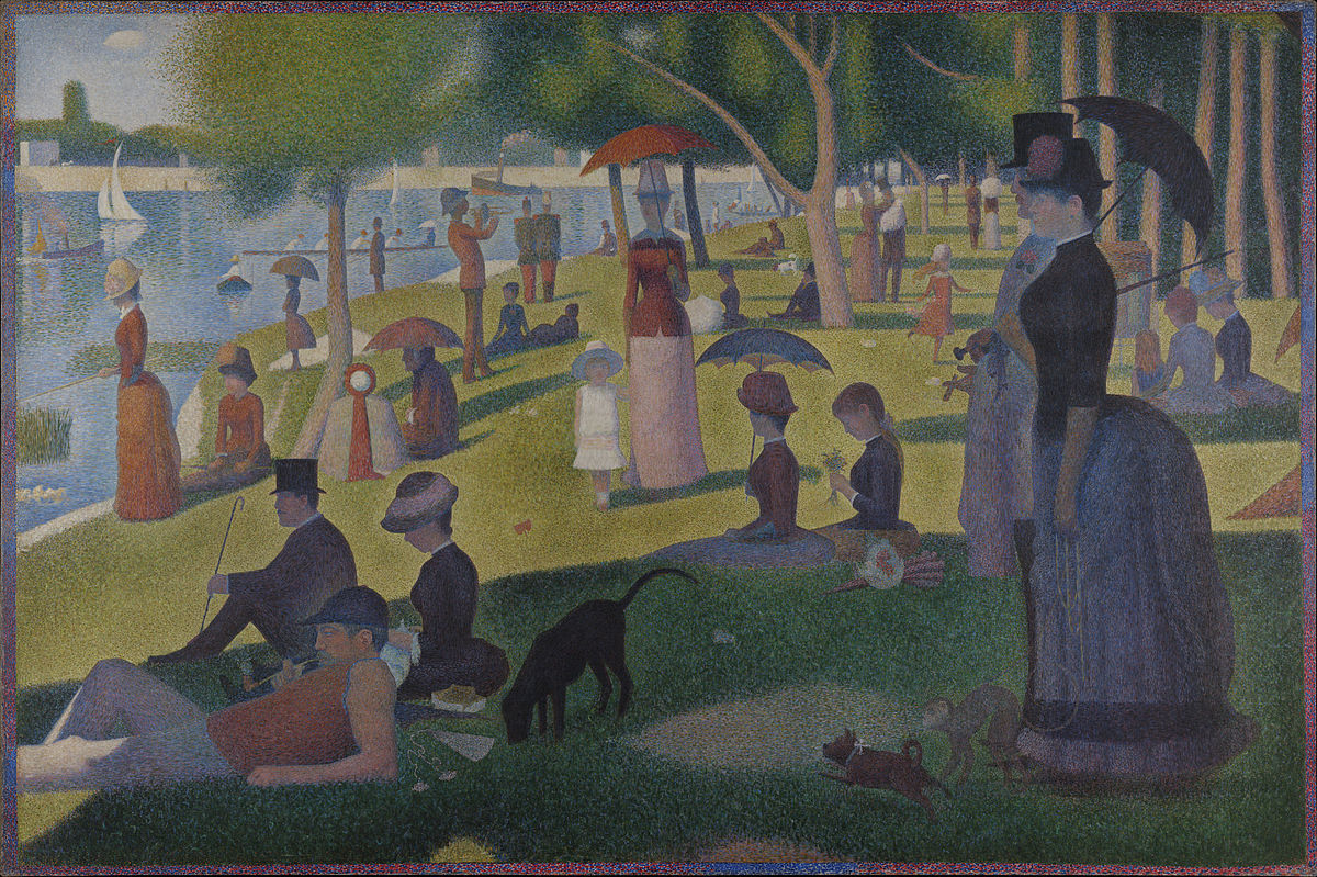 A Sunday Afternoon on the Island of La Grande Jatte   by George Seurat (1884).Nineteenth-century folks felt just as stressed about modernity as we do, and they still found time for...whatever this is. (And yes, this is the painting that hit Cameron hard in  Ferris Beuller '  s Day Off .)