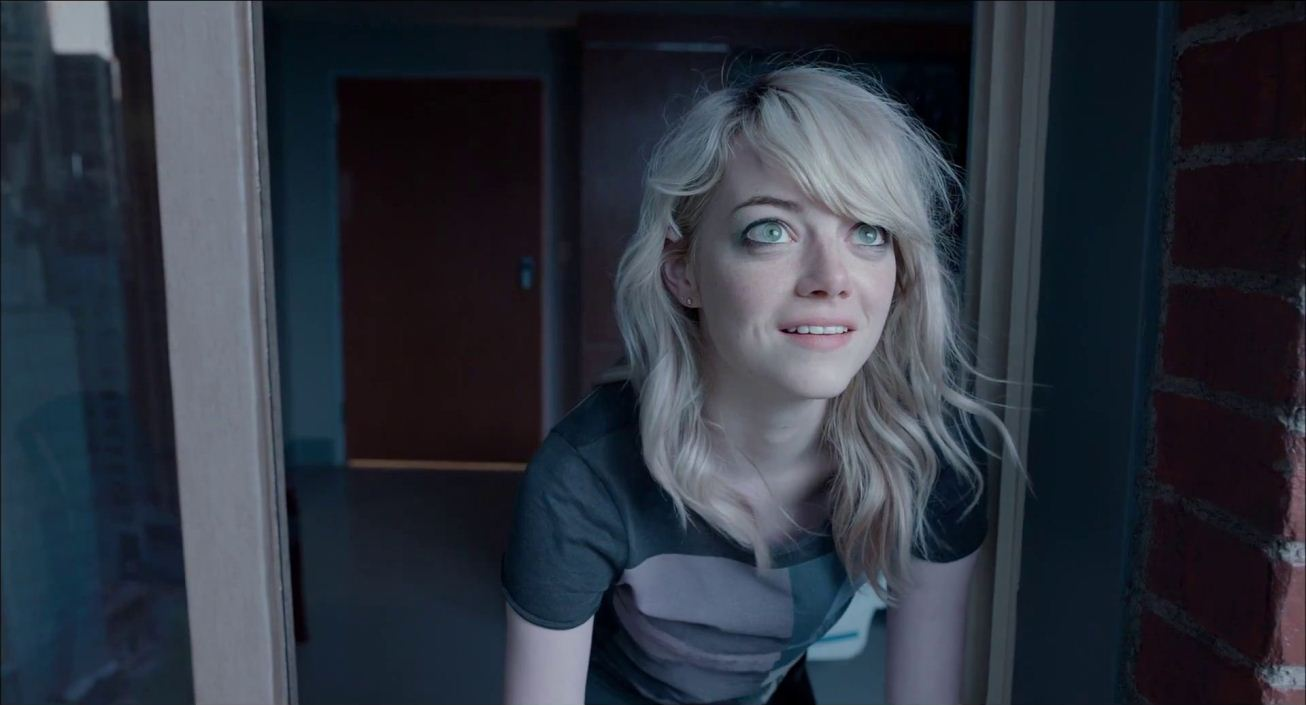 Do you see what I see? Emma Stone as Sam Thomson, Riggan Thomson '  s daughter and assistant, in  Birdman or (The Unexpected Virtue of Ignorance)  (2014)  . Image property of Fox Searchlight.