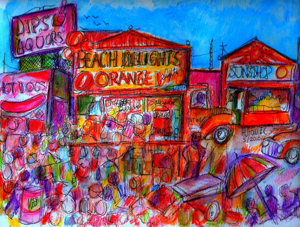 Carnival at Venice Beach 1960  —  pen, ink, and watercolor by  Robert L. Huffstutter . After two hours of almost zero sensory input, this is a nice representation of what it felt like to walk outside in Venice.