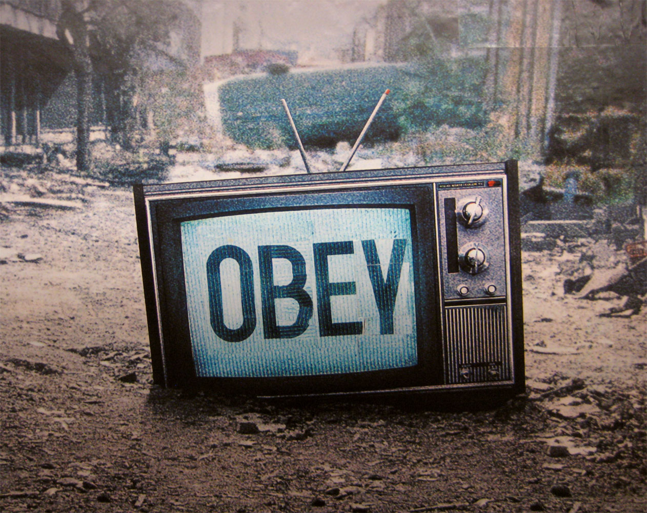 """""""Obey"""" (2013), an homage to the 1988 cult film   They Live   courtesy of Flickr user  Poster Boy ."""
