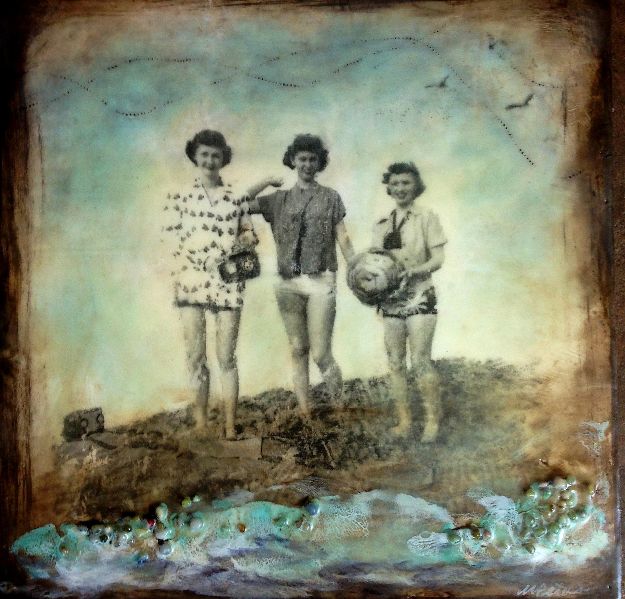 """'Well Hello Ladies!' Encaustic, oil, vintage photo transfer (my Mom in the center), and objects on panel, 12x12"""" sold"""