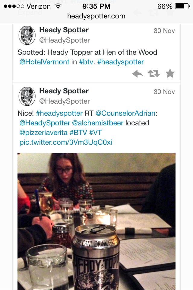 Click to scan recent Heady Topper spottings and availability by fellow beer hunters on Twitter.