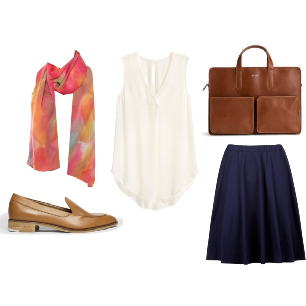 Shoes:  Everlane  / Top:  H&M Conscious  / Briefcase:  Matt & Nat  / Skirt:  People Tree