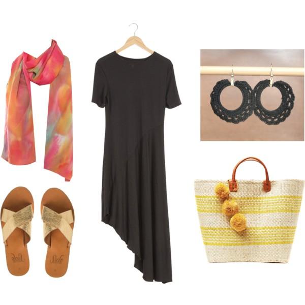 Shoes:  Sseko Designs  / Dress:  Raven + Lily / Earrings:  Loom  / Bag:  The Little Market