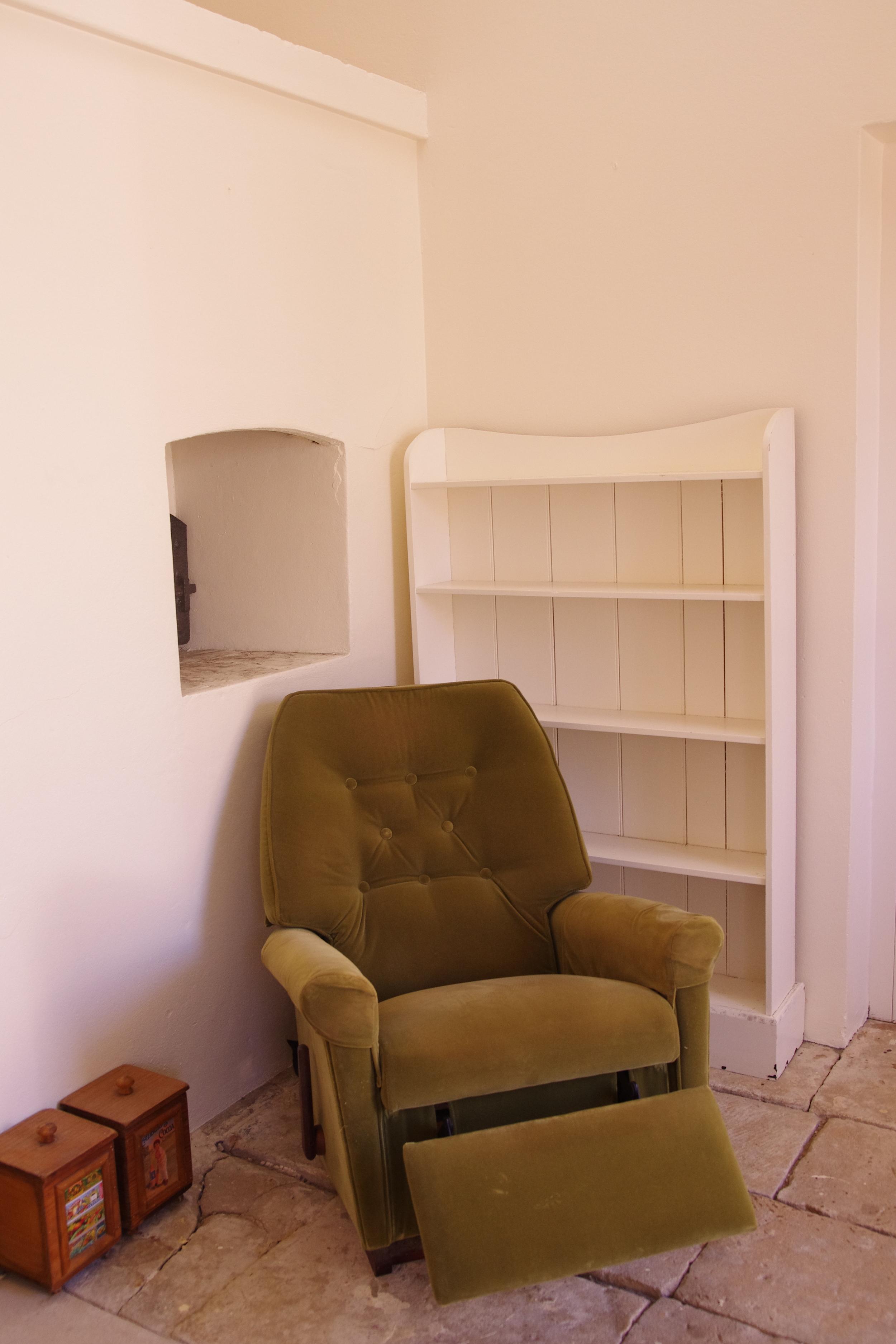 The blogging corner/drawing corner/reading corner/snoozing corner. (Recliner is stuck in semi-recline position... :/ )