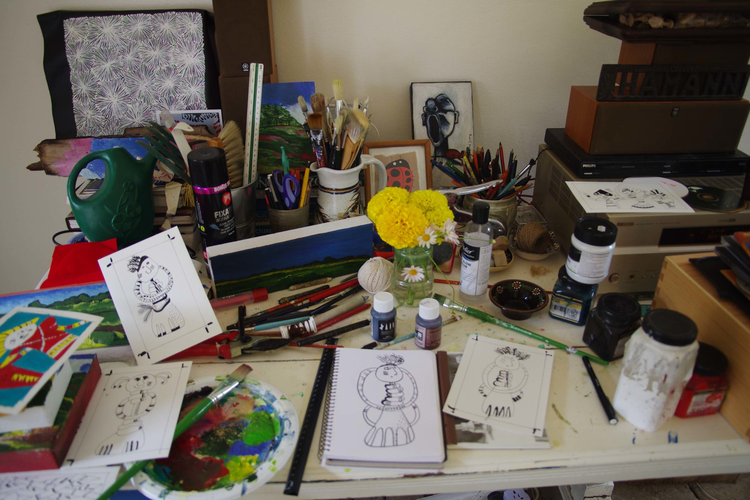 My very cluttered studio desk space