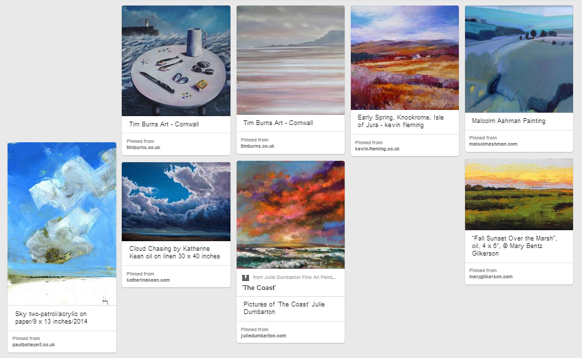 Click on the image above to find the Pinterest Board with links back to these artists websites. For a whole host of other inspiring art on Pinterest, click  HERE