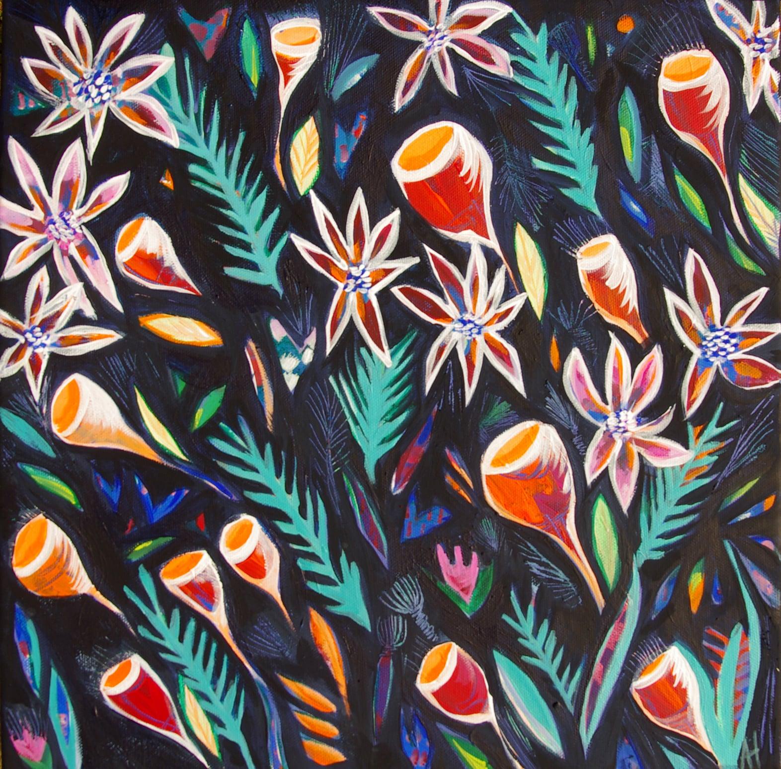 'Stormflowers at Night' 40x40cm Acrylic on Canvas