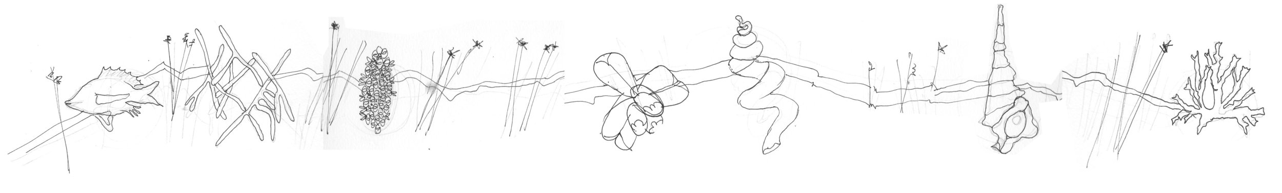 Initial concept sketch of elements to be developed as sculpture and mounted on wall.