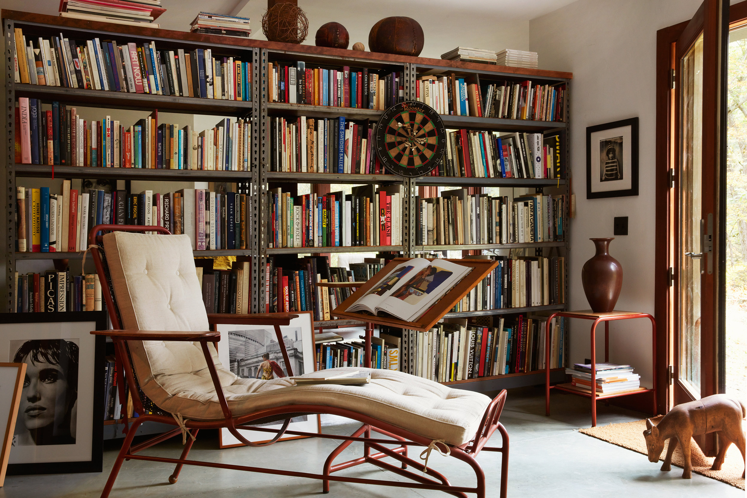 The couple favors French mid-century furniture such as Guillerme & Chambron, Maurice Pre and Jean Proué.