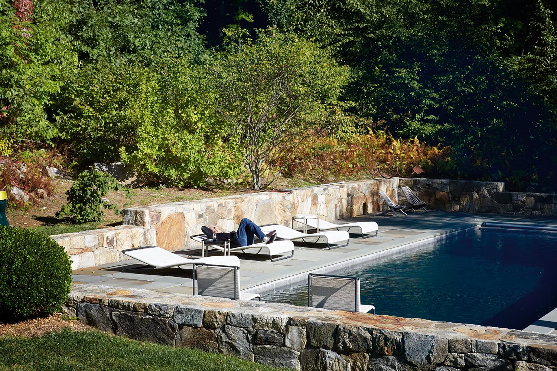 Taking a break by the pool.