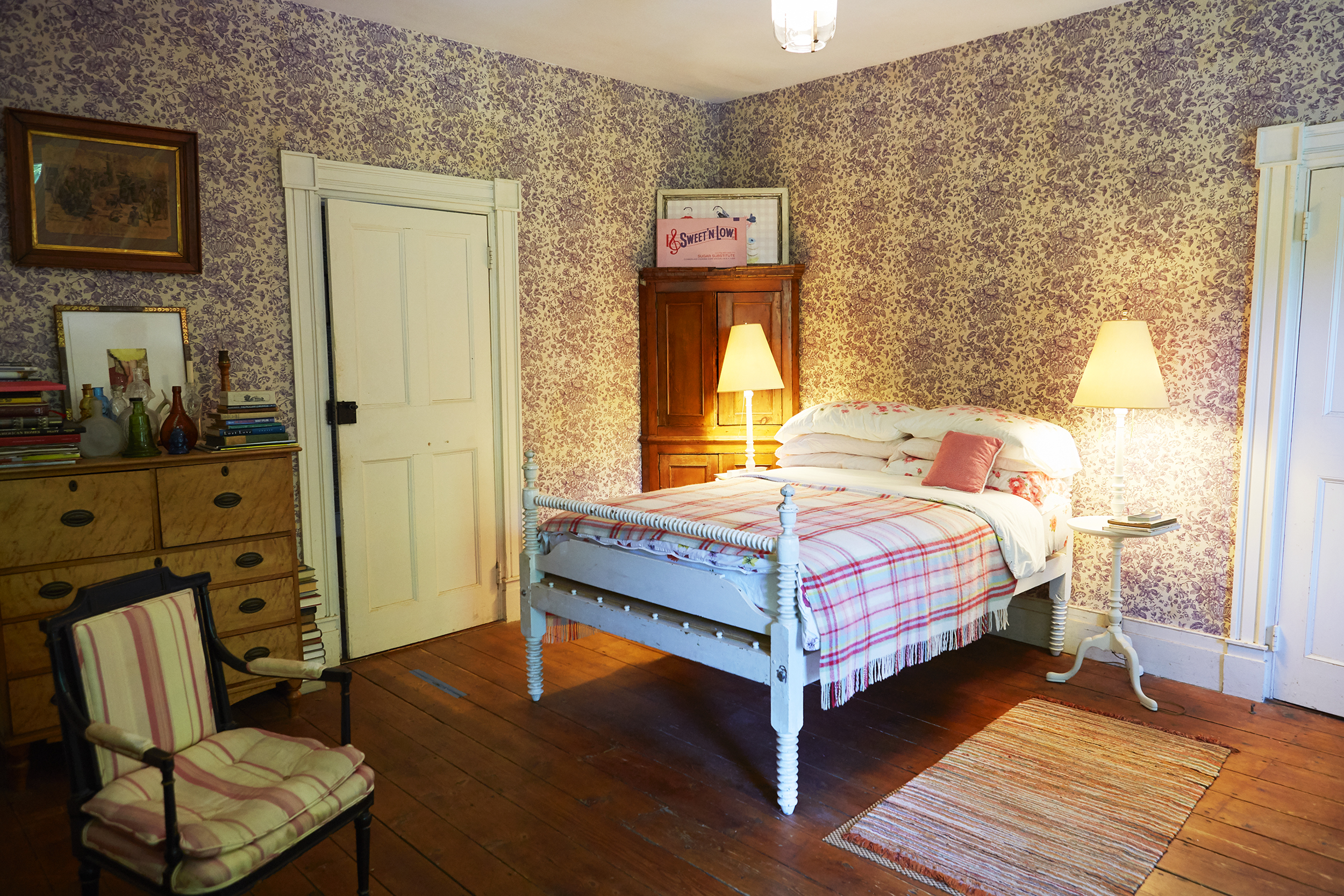 Guest bedroom features  Sweet and Low  by Sylvie Fleury.