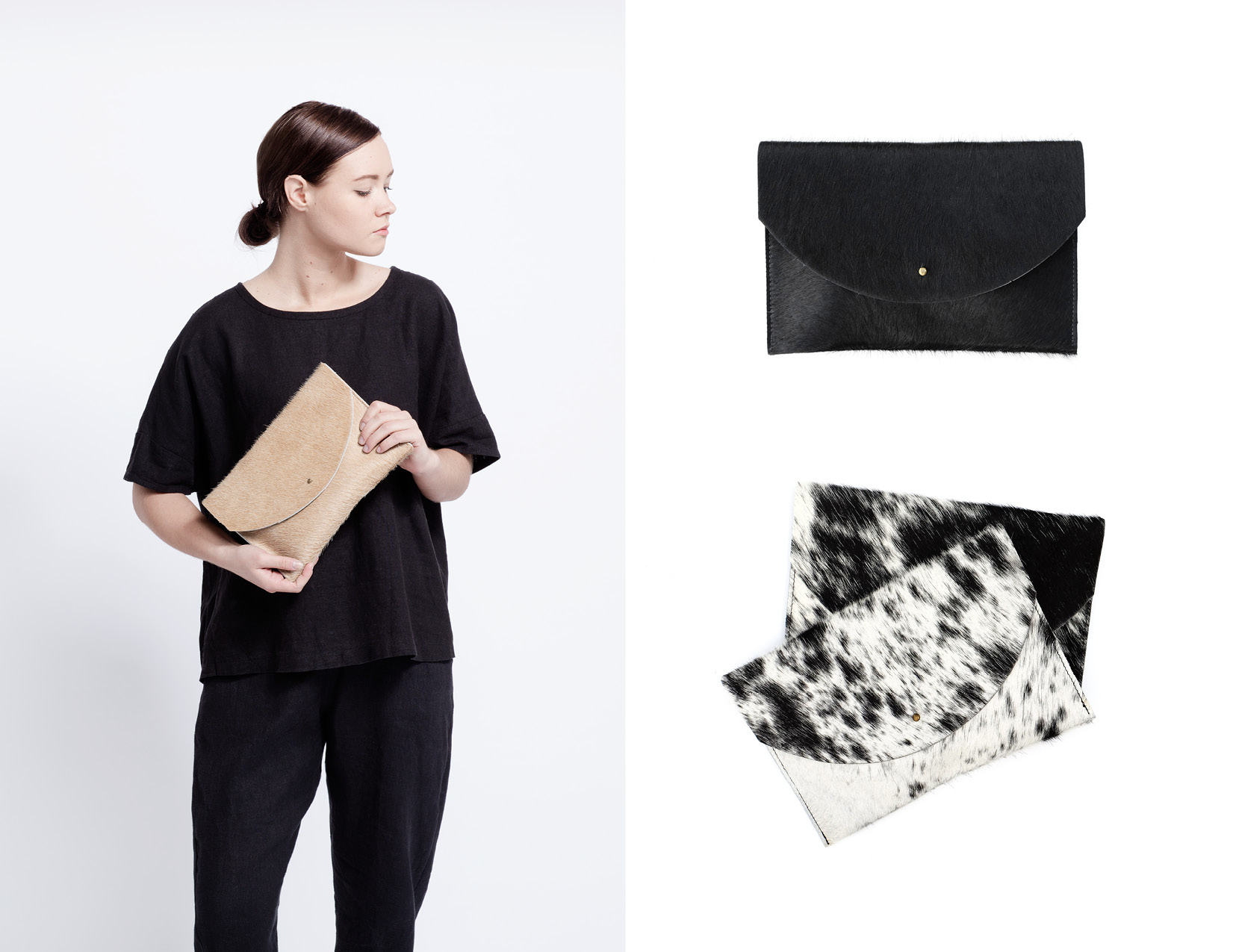 Cowhide Envelope Clutch