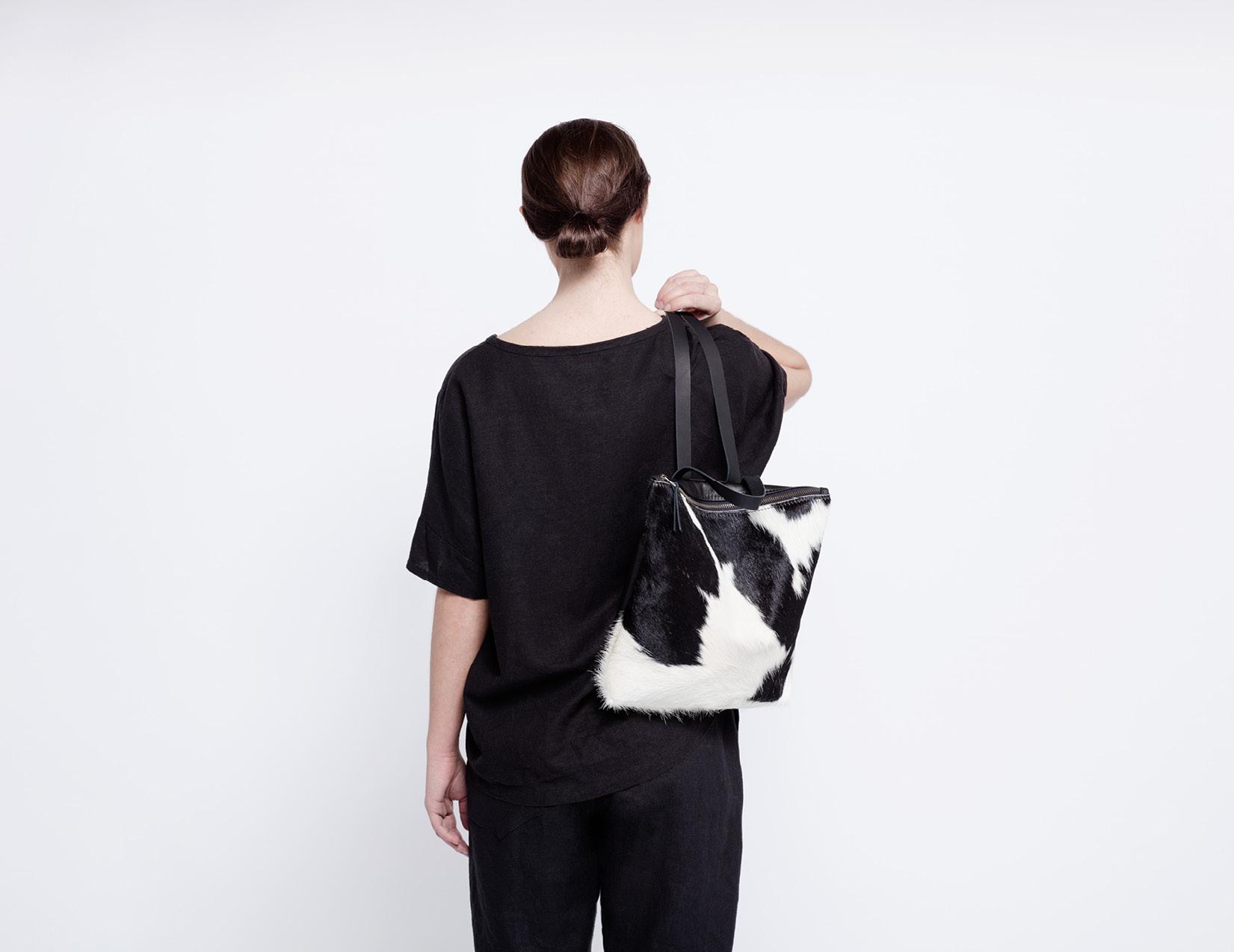 Black + White Cowhide Backpack