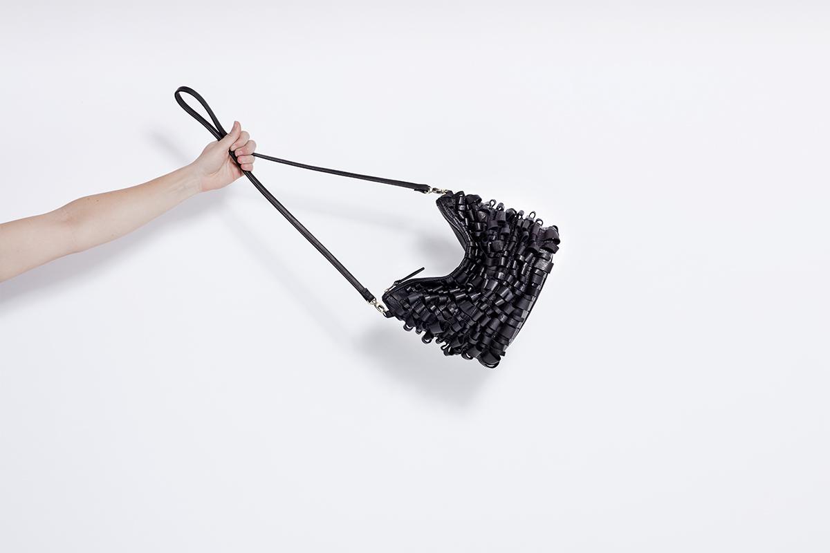 Black Leather Loop Mini Hobo