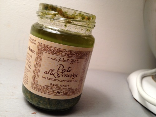 And pesto. Speaking of, this was my first time buying this brand of pesto. (Worth the dollars; secret ingredient = cashews.)