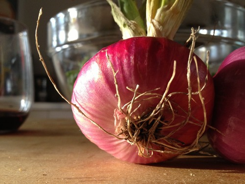 Red onion. A staple salad ingredient.  Staple .