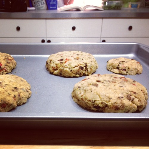Laythem out on a lightly oiled baking sheet, and bakethem at 350 degreesfor about 30 minutes.