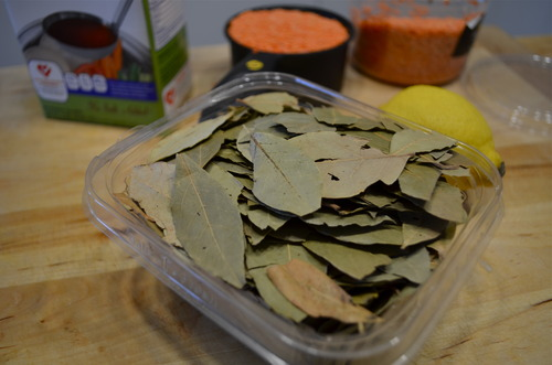 Um, Idon't think Iwill ever run out of bay leaves. Anything Iever cook always calls for one or two bay leaves. Isthere a freaking bay leaf pie Ican cook?  After thirty minutes, Ithrew two into the pot.