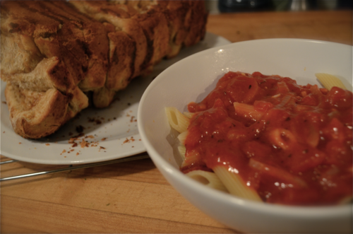We ate it with a side of pasta and tomato sauce, and it.was.the.best. In fact, Laura M. used some of the leftover bread for french toast the next morning. Can you imagine?!