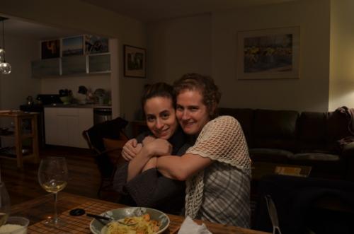 Rebecca T. and I, happily fed.
