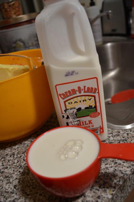 1/2 cup + 2 tbsp milk.
