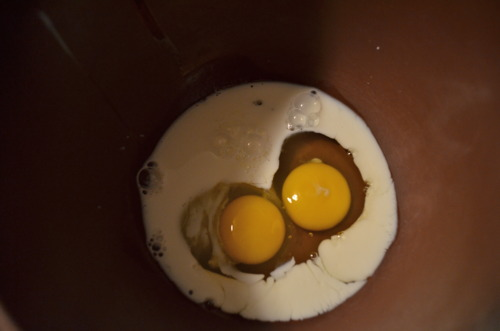 Act III: Create a glaze.  Glaze calls for 1 large egg and 2 tbsp milk. (Again, don't be confused by our image shown doubled recipe.)