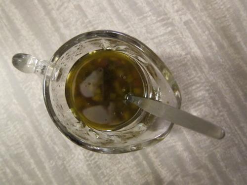 Get dressed: olive oil, balsamic vin, fresh lemon, chopped onion, salt.