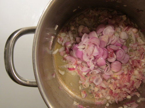 Cook for a minute or two and then add SHALLOTS.