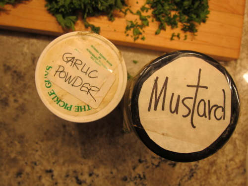 1/4 tsp garlic powder. 1/4 tsp mustard powder. Oh, and have you labeled your spices today? I think it's time.